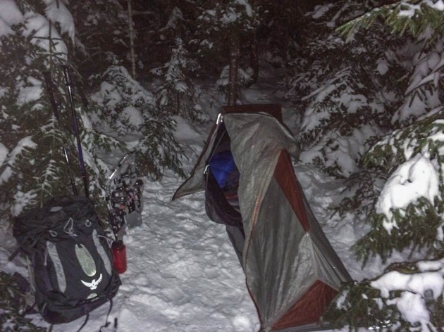 Winter camping in 2014, fly hanging loose