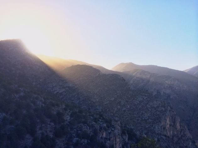 Sun starting to set over Guadalupe Mountains