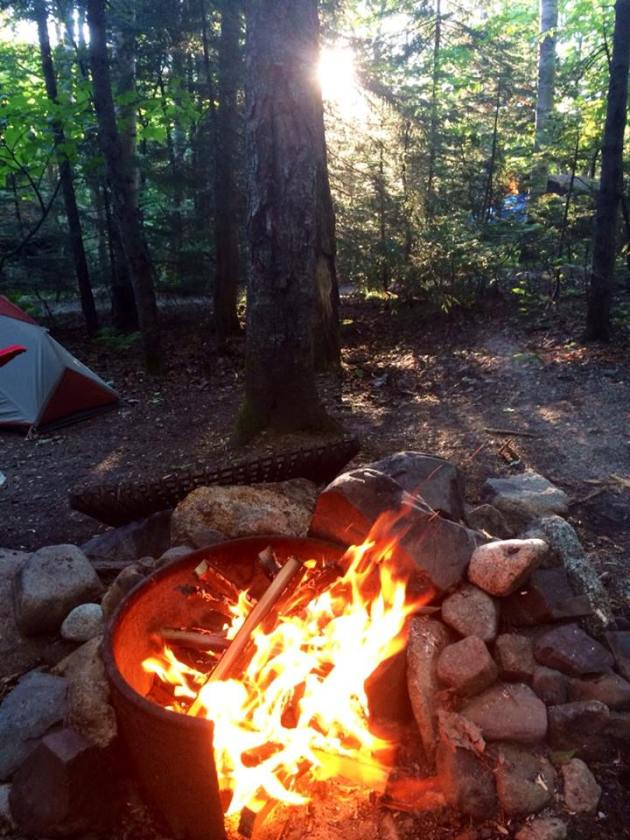 Morning camp fire