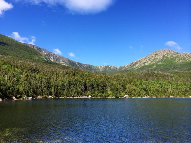 First sight of Baxter Peak and the saddle from Middle Basin Pond