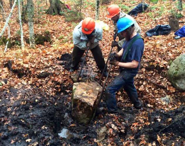 Slowly levering a large boulder into place with rock bars