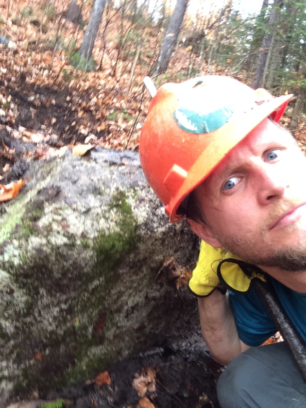 Intense Selfie with Giant Boulder