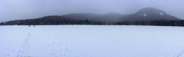 Panorama of Lonesome Lake from the center of the lake