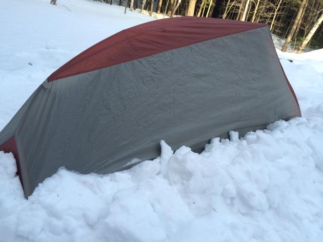 Crude snow walls to block wind