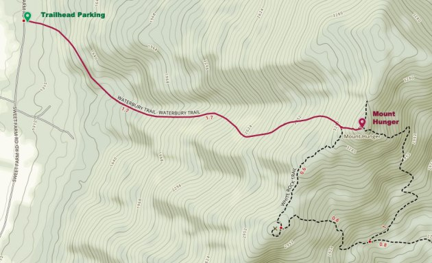 Trail map with route highlighted