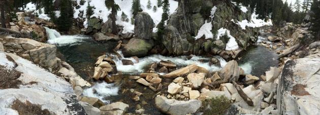 Waterfalls and granite boulders