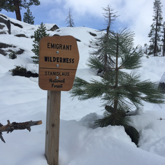 Emigrant Wilderness sign in the snow