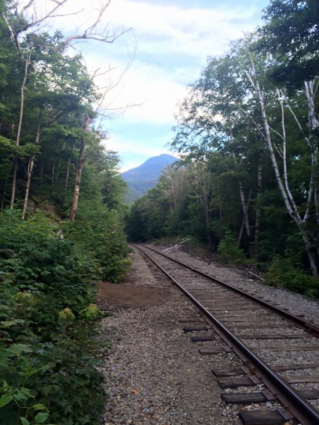 Train tracks and mountain