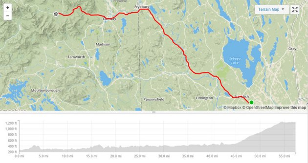 Map of route and elevation gain