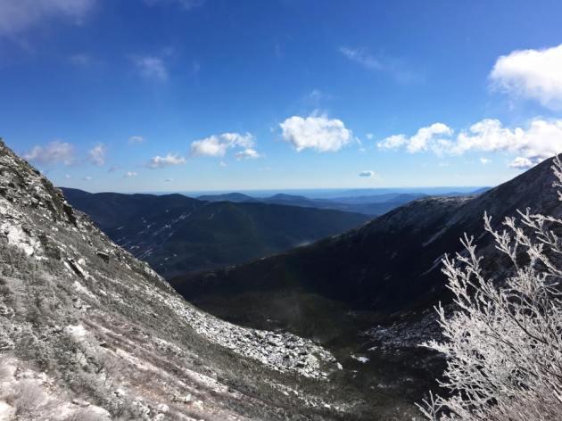Blue sky over mountain ravine
