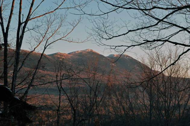 Mountains lit up by sunrise