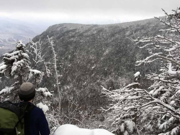Man looking at mountain