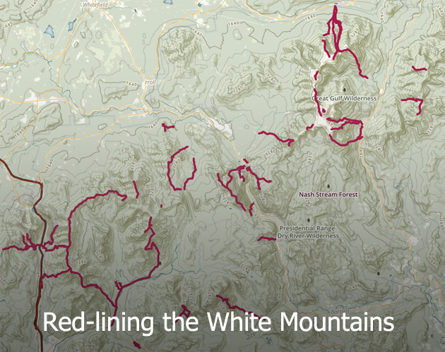 trail map of red-lining the White Mountains