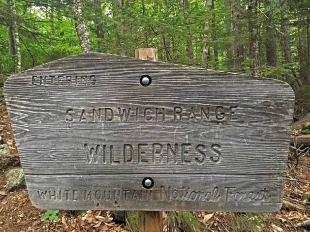 Sign saying: entering Sandwich Range Wilderness