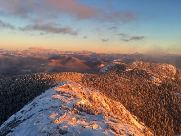 Top 2016 photos: sunrise on snowy mountains tops