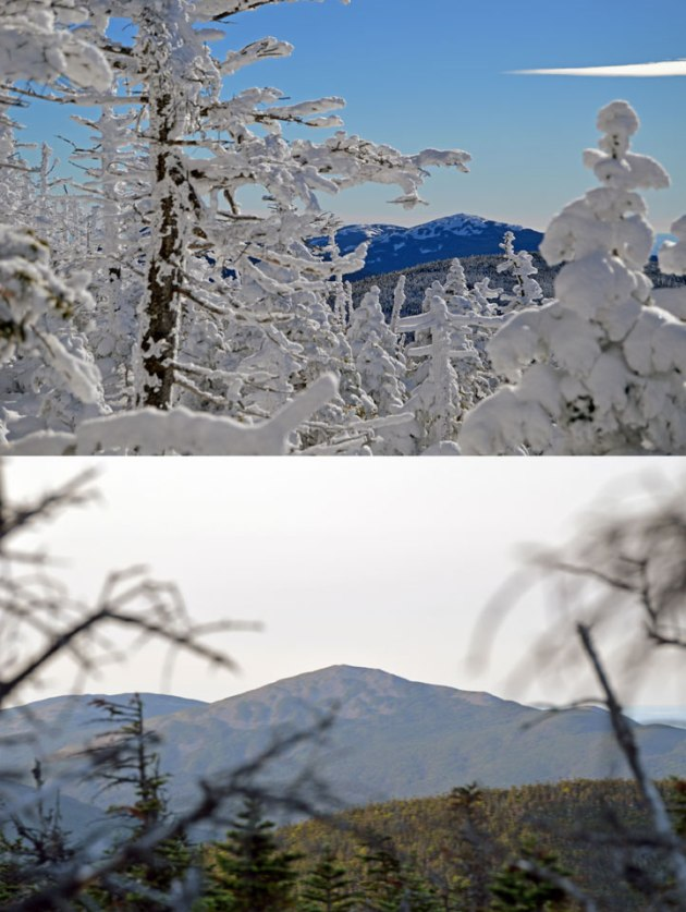 Winter and summer photos of a mountain