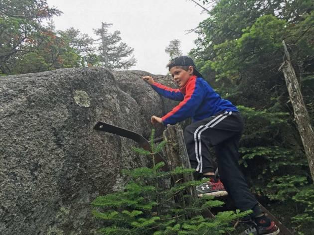Boy climbing metal ladder up larger boulder