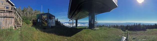 Ski lift on mountain top