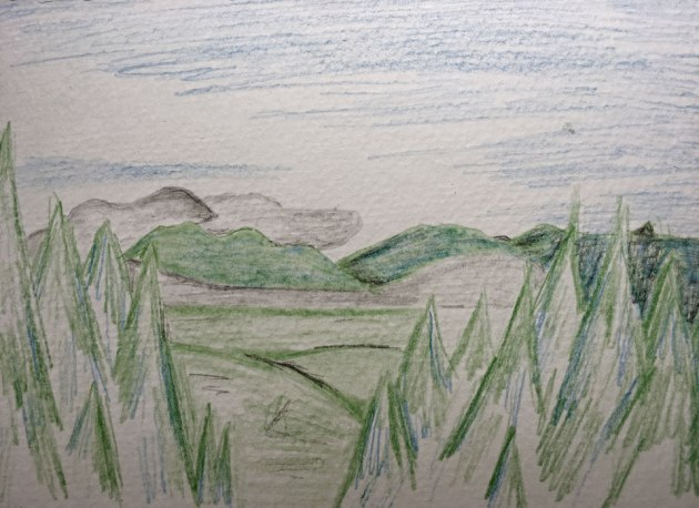 Color pencil sketch of trees, mountains and sky
