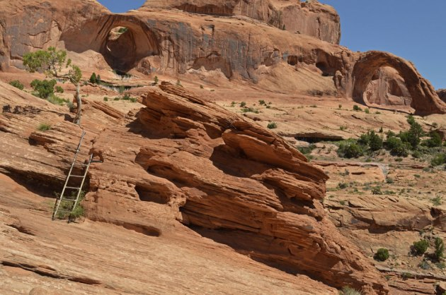 Metal ladder up steep rocks with arches in the background