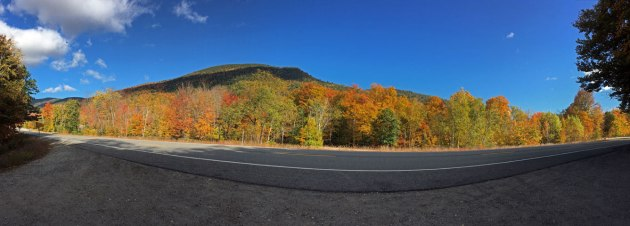 Mountain and color foliage next to highway with blue skies