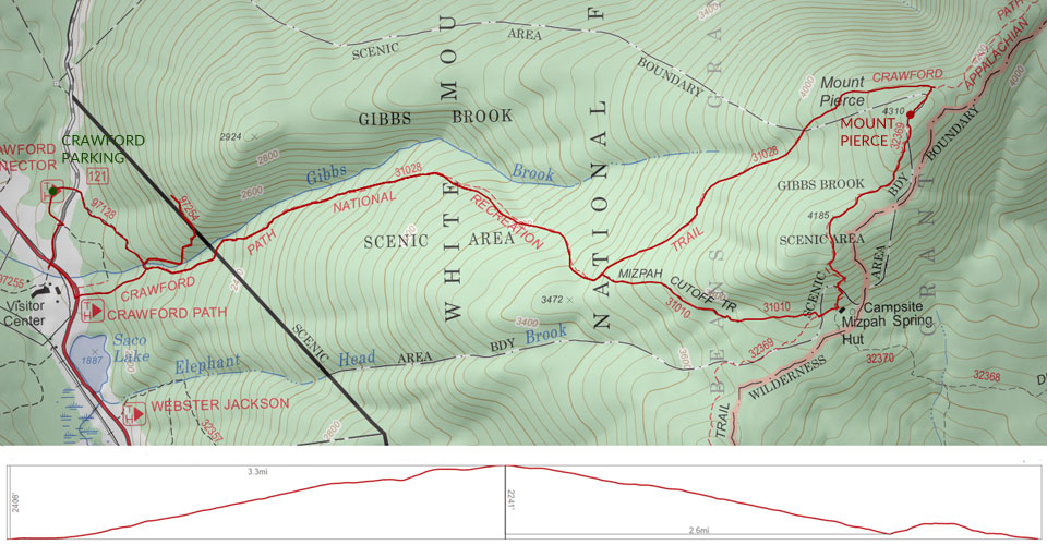 Mount Pierce trail map