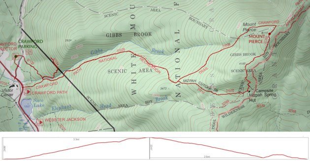 Mount Pierce trail map