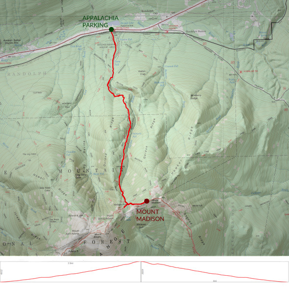 Map of winter hike of Mountain Madison