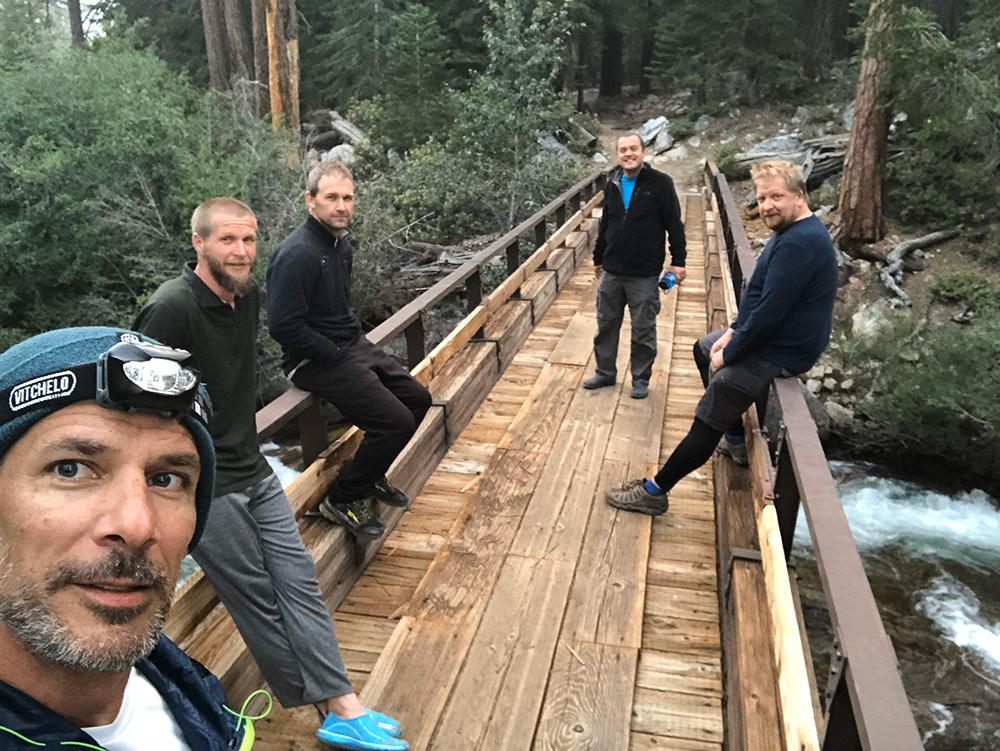 The crew on Mono Creek bridge